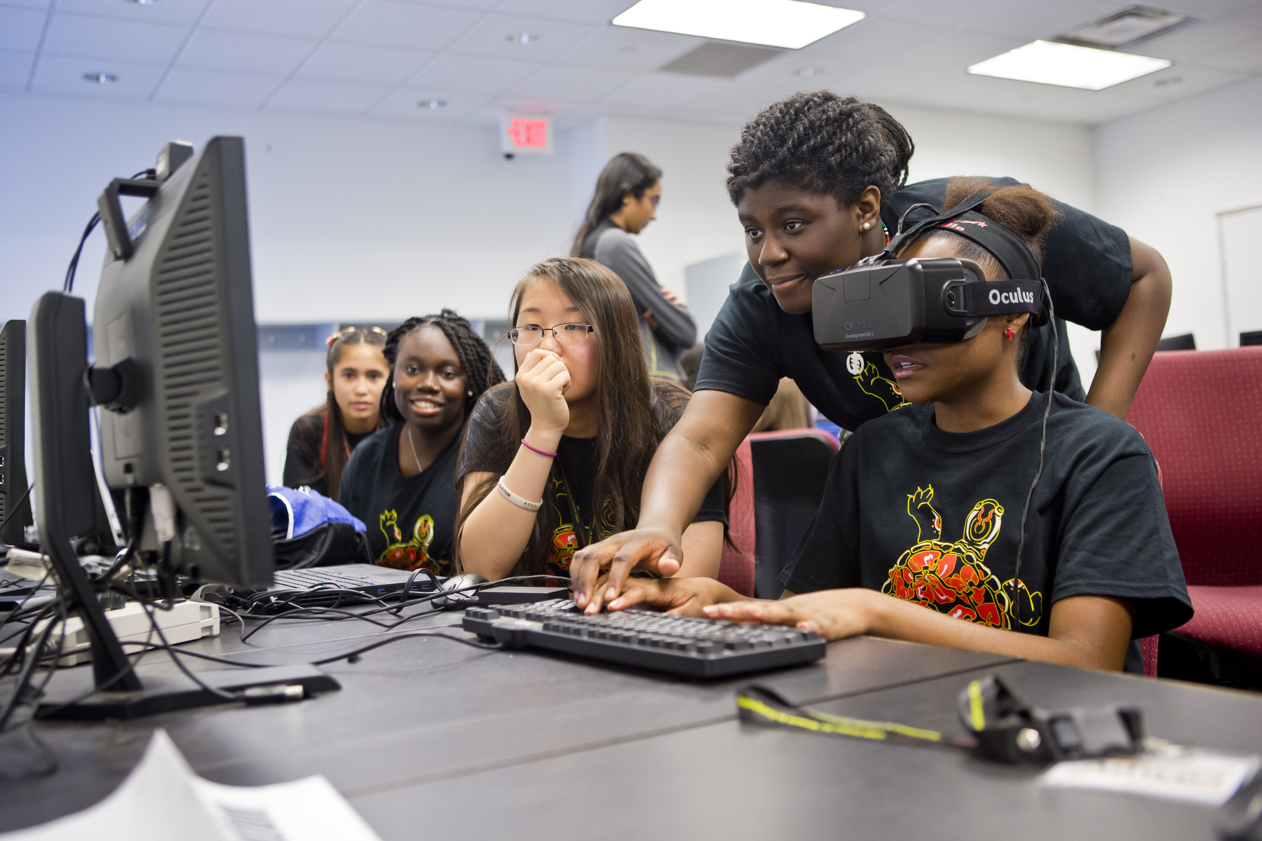 image of students with VR